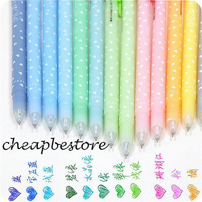 12 pcs 0.5mm Cute Lovely Shining Candy Color Ballpoint Pen Stationery Kid FR0