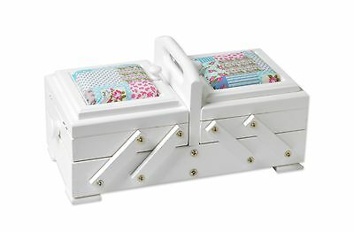 Knitting & Sewing Box from Aumueller, in White with Blue Cushion, Brand New