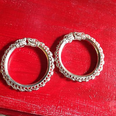 2 matching Genuine Sterling Silver Filigree Elephant Bangles, fit small wrist