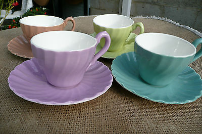 Funky Vintage Retro 4 Colourful MYOTT Coffee /Small Tea Cups Saucer Old Chelsea