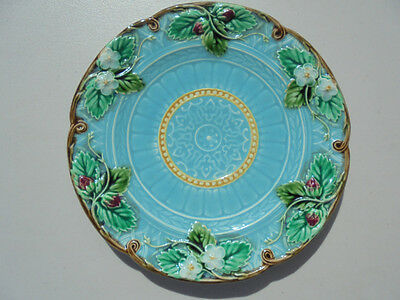 "Old Vintage Sarreguemines France Majolica Strawberry Plate 8 1/8"" Excellent"