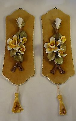 Pair Of Capodimonte Floral Roses Gold Velvet Tassled Hanging Wall Plaques