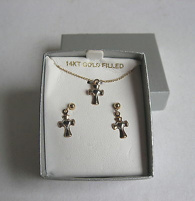 Girls Childs 925 Sterling Silver & 14K Gf Christian Cross Necklace Earring Set