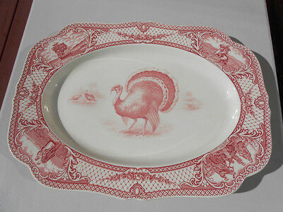 """Vintage Crown Ducal Colonial Times Pink Red Lg Thanksgiving Turkey Platter 20"""""""