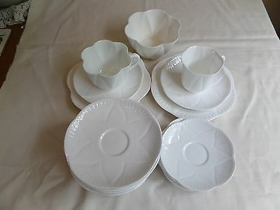 Shelley Dainty White Bone China Cups, Saucers, Side Plates And Sugar Bowl Job Lo