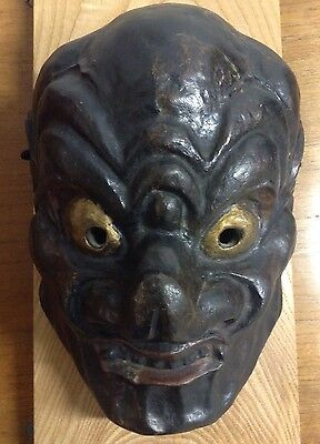Japanese Antique Gigaku Lacquered Handmade Chido Black Demon Tengku NOH Mask