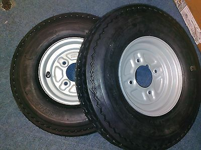 """Pair of Trailer Wheels and Tyres 6 PLY 480/400 x 8"""" 4"""" PCD 345Kg Grease Nipple"""