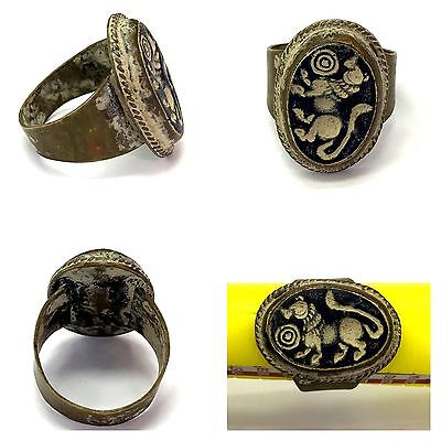 Beautiful Old Bronze Intaglio Lovely Ring # L3