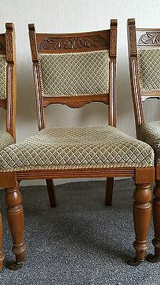 Set Of 6 Six Antique Victorian Carved Oak Dining Chairs