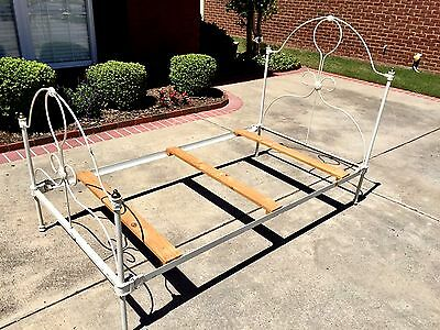Antique Twin-size Painted Iron Bed w Brass Bedpost Finials Complete All Original