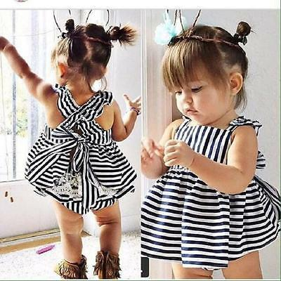 2PCS Set Newborn Toddler Infant Baby Girls Outfits Clothes Tops Dress+Pants 110
