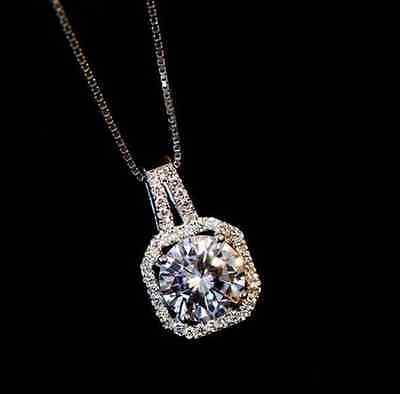18K White Gold Plated Czech Crystal Square Princess Cut Wedding Pendant Necklace