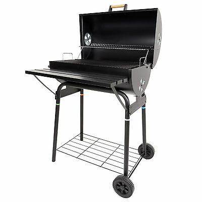Azuma Black Steel Barrel BBQ Barbeque Charcoal Grill Cooking Garden Patio Wheels