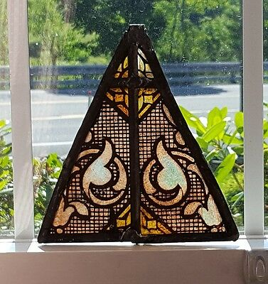 Gothic Fired Leaded Stained Glass Suncatcher 100 Years Old