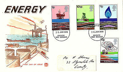 25 January 1978 Energy Stuart First Day Cover Coventry Fdi