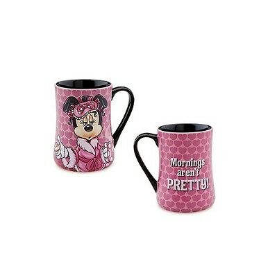 "Disney Parks Minnie Mouse Ceramic - Coffee Mug ""Mornings Aren't Pretty"" NEW"