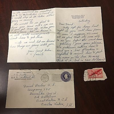 Antique Handwritten Letter With Stamps August 29th 1942