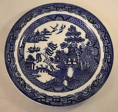 """Vintage Blue White Wedgwood Willow Pattern 10"""" Dinner Plate VGC"""