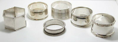 Assortment of 6 Sterling Silver Napkin Rings