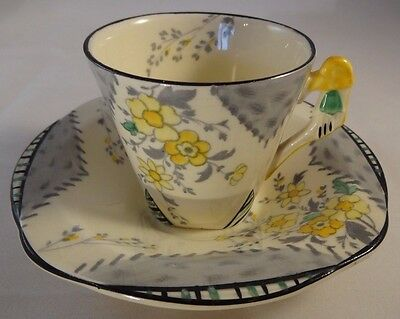 Burleigh Ware Grey & Yellow Floral Maytime Coffee Cup Can Demi Tasse & Saucer VG