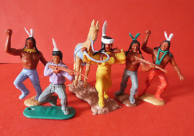 TIMPO AMERICAN INDIANS x5 * SWOPPET * VINTAGE * RARE * TOY SOLDIERS