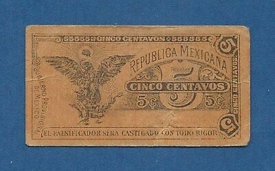 Mejico // Mexico -- Gob. Provi. - 5 Centavos ( 1914 Nd Issue ) -- Vf -- P. S697