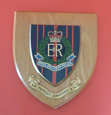 Vintage Military Wall Plaque Shield * Royal Military Police * Rmp 163 Provost Co