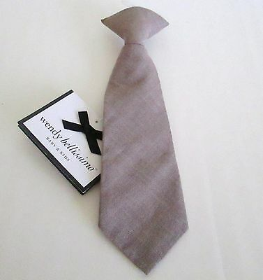 Wendy Bellissimo Baby Boy Neck Tie 6-12 Months Tan Cotton Clip On New With Tags