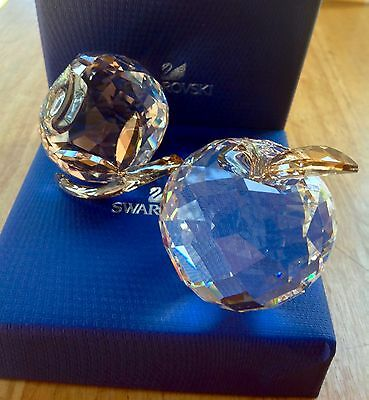 Swarovski 2017 Asian Symbol PEACH 5271317 & APPLE 5270261 with Golden Leafs