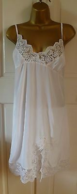 Vintage Style Ultra Femme White Silky Full Slip With Lace Hem + Bust Size 12-14