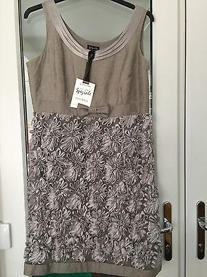 Mother Of The Bride/ Groom/cruise Dress And Jacket Silver Beige Size 14/16