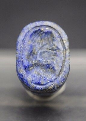 Interesting Sassanian Style Lapis Lazuli Seal With Anthromorphic Impression