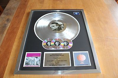 U2 - The Unforgetable Fire Platinum LP Award UK / No RIAA BPI