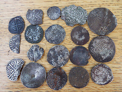 """ELK""  18 Medieval HAMMERED Silver COINS all ""as dug"" condition from NORFOLK"