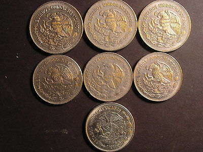 Mexico 50 Pesos 1982 (3), 20 Pesos 1980 (2), 20 Pesos 1981 (2) Lot Of 7 Coins