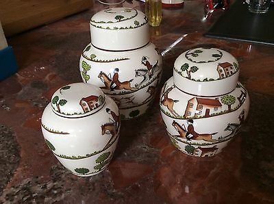 CROWN STAFFORDSHIRE HUNTING SCENE Ginger Jars 3 With Lids