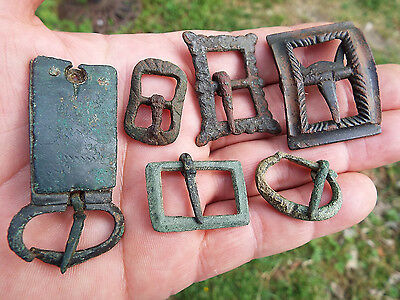 "ELK"" 6 MEDIEVAL and Later copper/alloy COMPLETE BUCKLES"