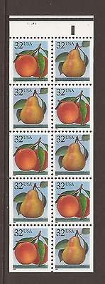 Below Face ~ 2488a 1995 32c Peaches and Pears Booklet Pane of 10 #11111 - MNH