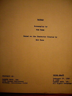"1988 ""Batman"" Screenplay by Sam Hamm, based on Character Created by Bob Kane"
