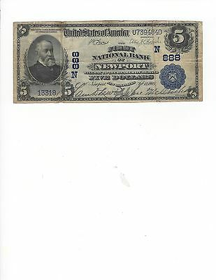 1902 $5.00 Plain Back Ch 888, First NB of Newport, NH, RARE!!