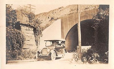 Black and White Vintage Snapshot Photograph Car Ride Tunnel Road 1920's