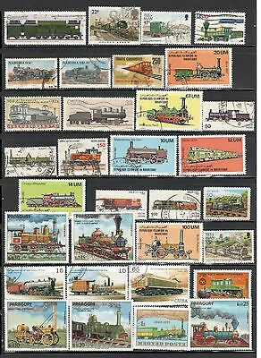 Train Stamps Worldwide stamps Topical Stamps lot 3