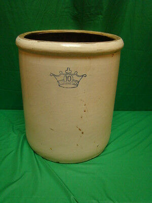 Antique Robinson Ransbottom 10 Gallon Blue Crown Stoneware Crock Pottery