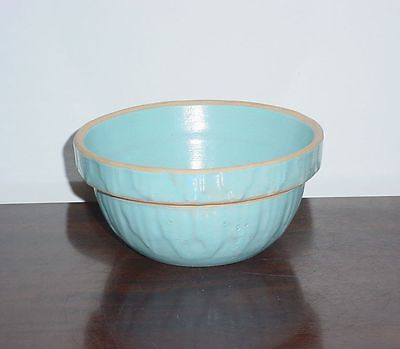 "TINY Robin's Egg Blue Stoneware Crock Bowl 5 1/8"" USA Yellow Ware Picket Fence"