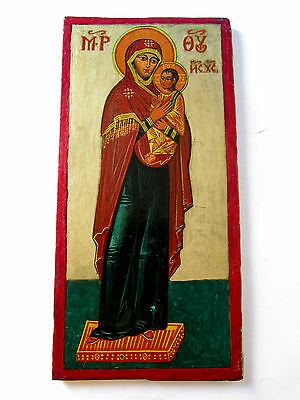 Old Orthodox hand painted Icon of Virgin Mary And Christ Child