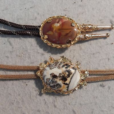 Pair 2 Vintage AGATE Bolo Tie Gold Polished Stone Slide Western Tips Nugget