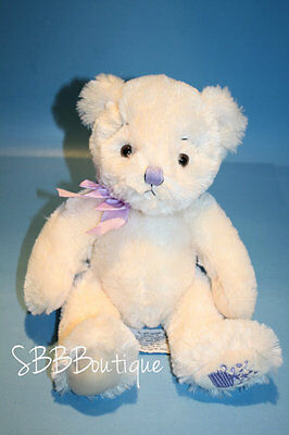 "Russ ANYA Teddy Bear 11"" Cream Plush Lavender Bow Nose Flower Foot Stuffed Toy"
