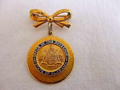 Vintage GOLD-TONE BROOCH PIN ALABAMA OFFICE of the GOVERNOR; BOW + DANGLE DISC