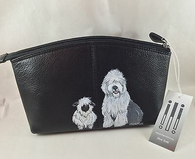 hand painted Old English Sheepdog high quality* black leather *makeup pouch