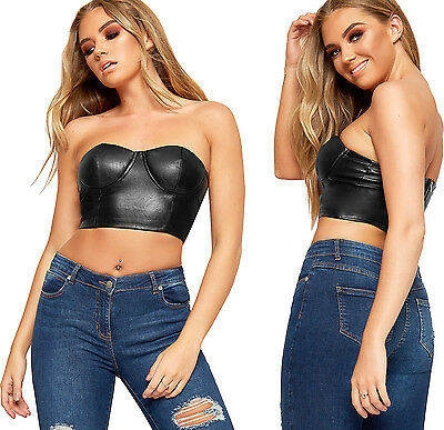 Womens Wet Look Faux Leather Pu Strapless Zip Bralet Ladies Padded Crop Top New